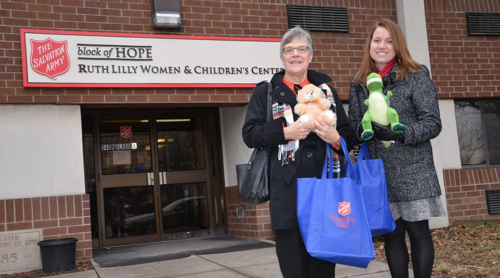 Mary Beth Trotter and Allison Clark of Thrivent Financial visit the Ruth Lilly Women & Children's Center after their Thrivent Action Team created the first batch of Blessing Bags for the shelter. Click here to see photos of their fun team building event and visit to the shelter to see how the bags were already being put to good use.
