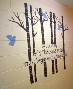 One of many encouraging murals on the walls of the Ruth Lilly Women & Children's Center