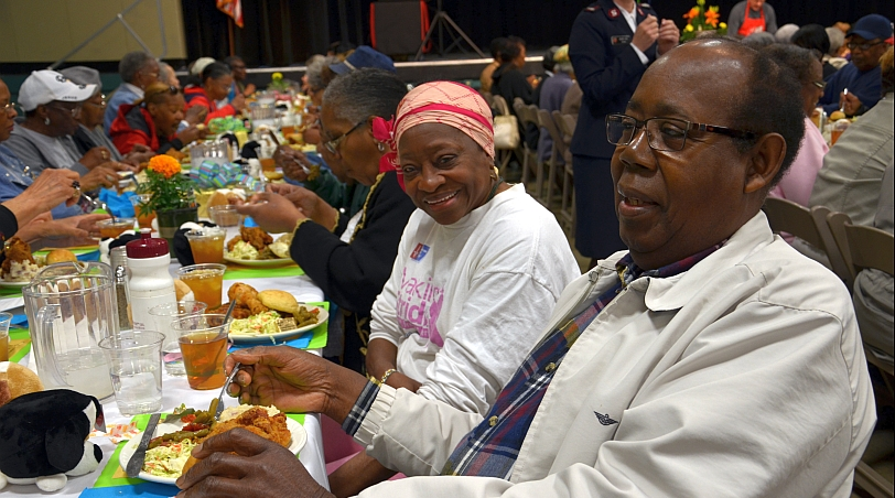 Seniors enjoy a hot meal at the annual Older Adult Spring Luncheon at the Indiana State Fairgrounds. Click here to see more photos from this fun event!