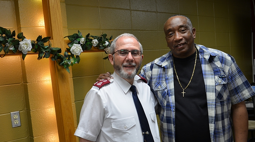 """""""I knew that I had to do something because it looked like my world was just falling apart."""" Victor with Major Doug Stearns of The Salvation Army Harbor Light Center"""