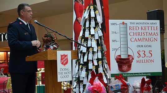 Major Bob Webster kicks off the 2015 Red Kettle Christmas Campaign. Click here to see more photos from the event!