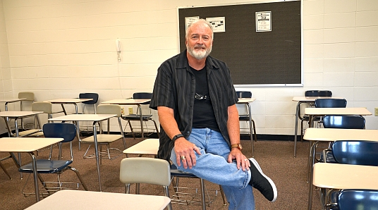 Bill Chaulk sits in one of his classrooms at The Salvation Army Harbor Light Center in Indianapolis.