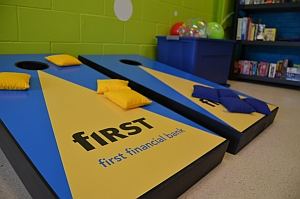Custom cornhole game from First Financial Bank